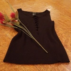 Black lace up crop top from Forever 21 size small